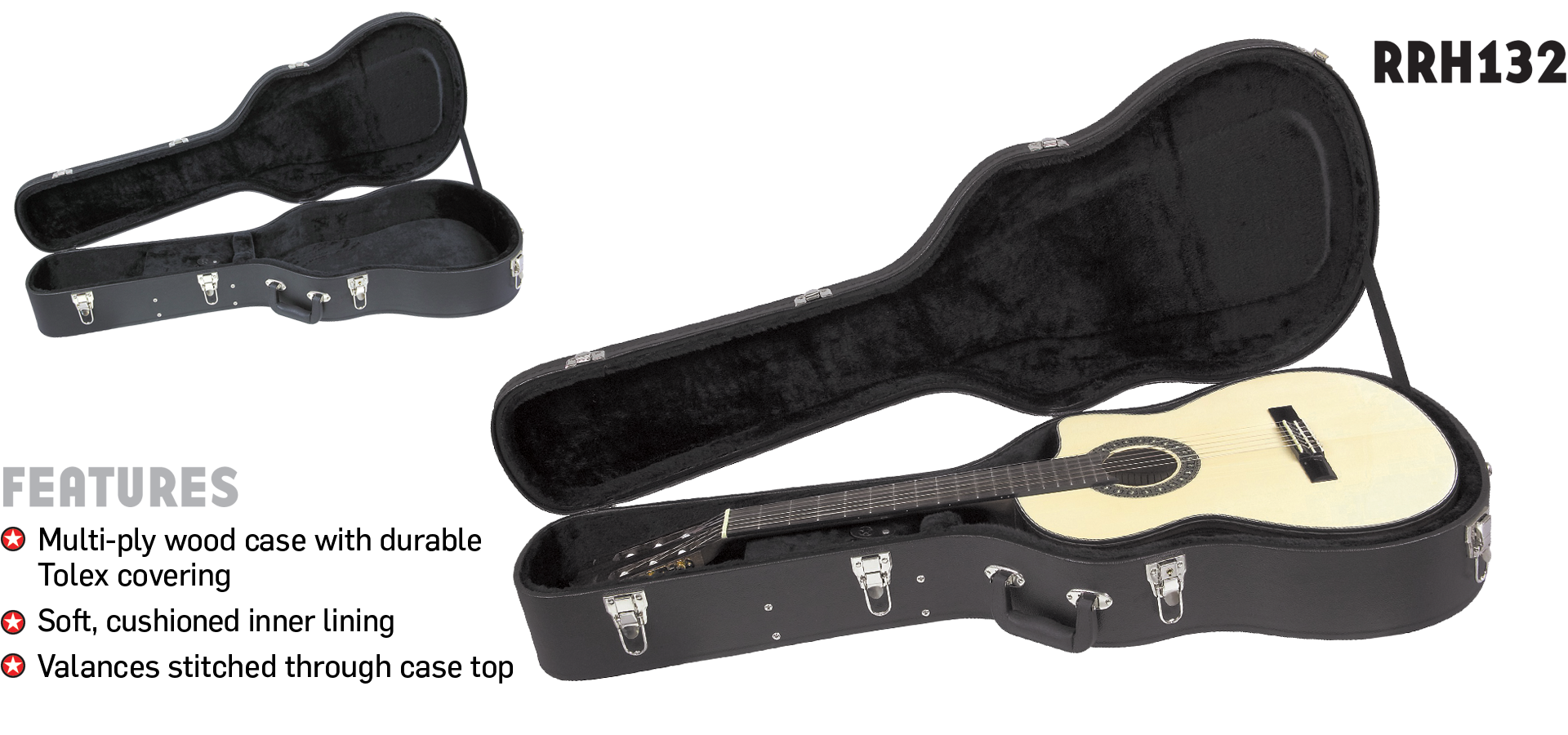 Wood Classical Guitar Case Road Runner RRH132