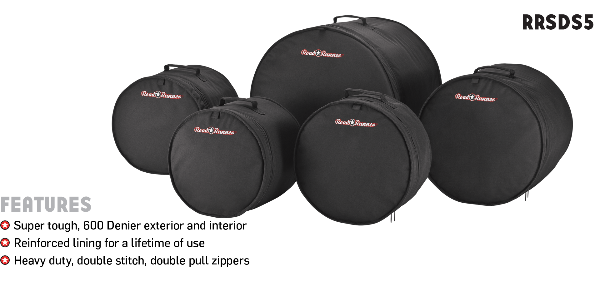 5-Piece Drum Bag Set Standard Road Runner RRSDS5
