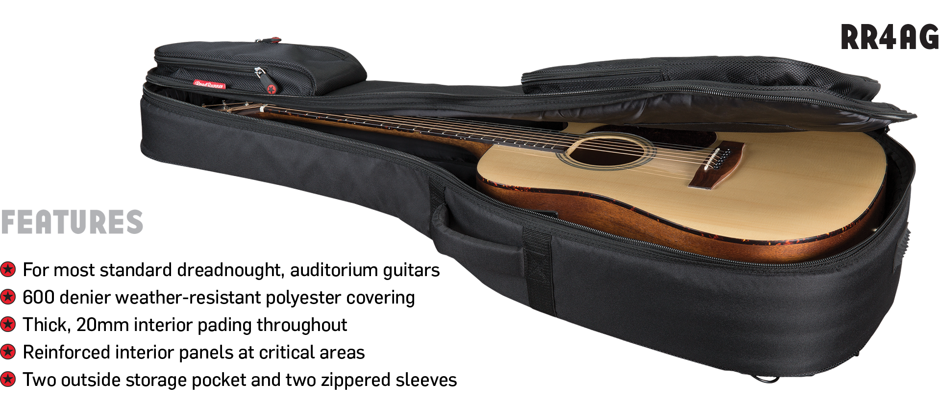 Acoustic Guitar Padded Gig Bag Road Runner Boulevard RR4AG