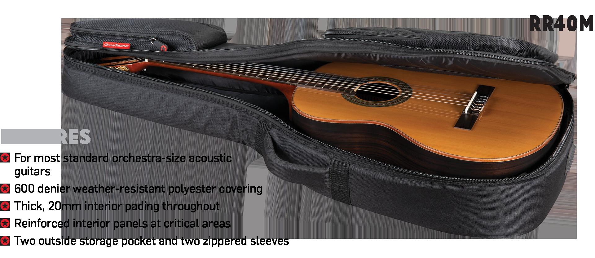 Orchestra-Size Acoustic Guitar Gig Bag Road Runner Boulevard RR4OM