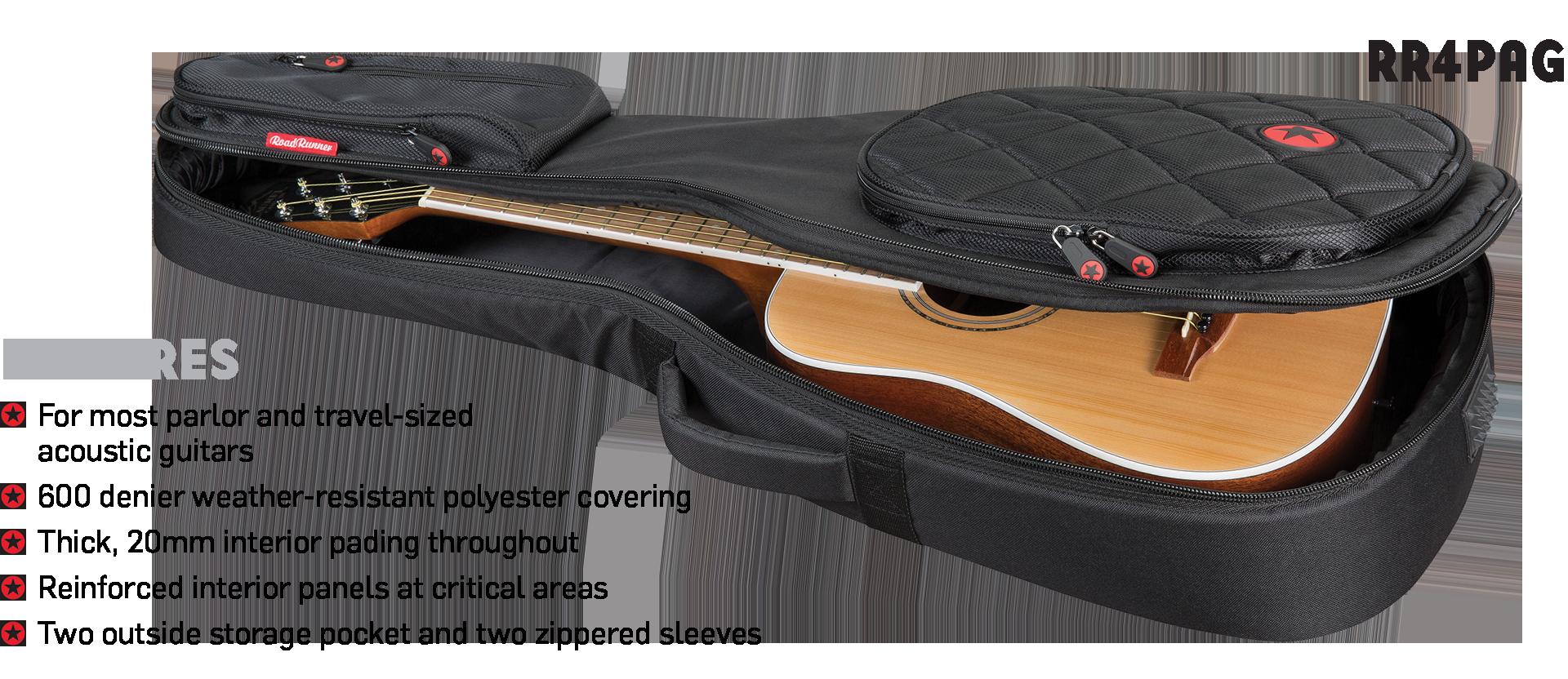 Parlor Acoustic Guitar Gig Bag Road Runner Boulevard RR4PAG