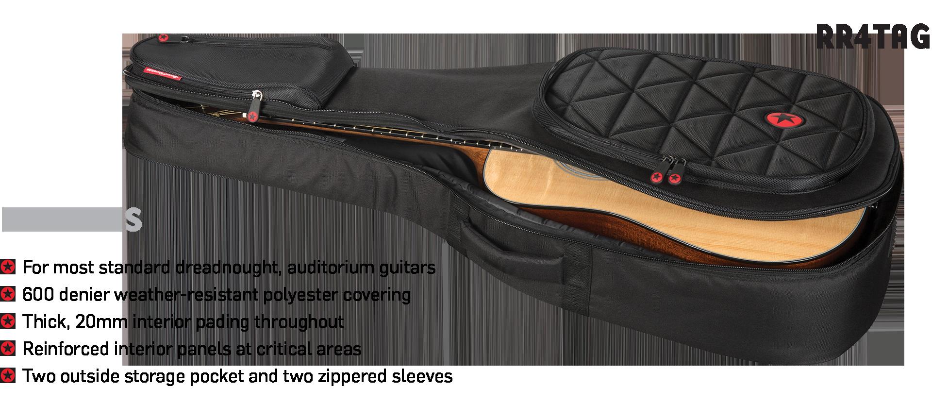 Acoustic Guitar Padded Gig Bag Road Runner Boulevard RR4TAG
